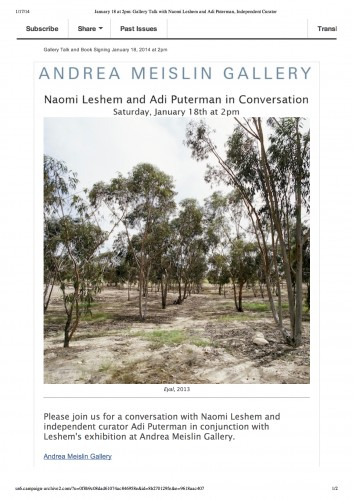 January 18 at 2pm_ Gallery Talk with Naomi Leshem and Adi Puterman, Independent Curator